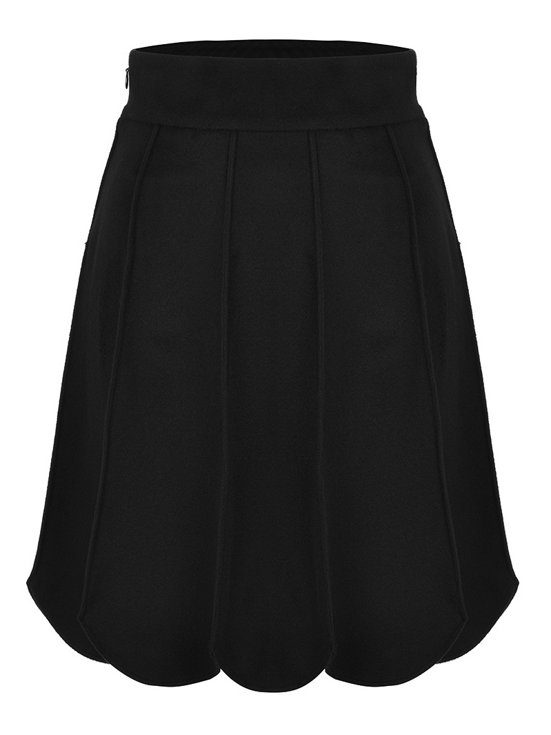 Double Face Wool Skirt With Scallops