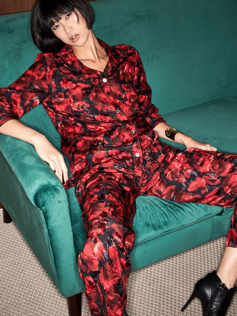 Rose Silk Pyjama Set