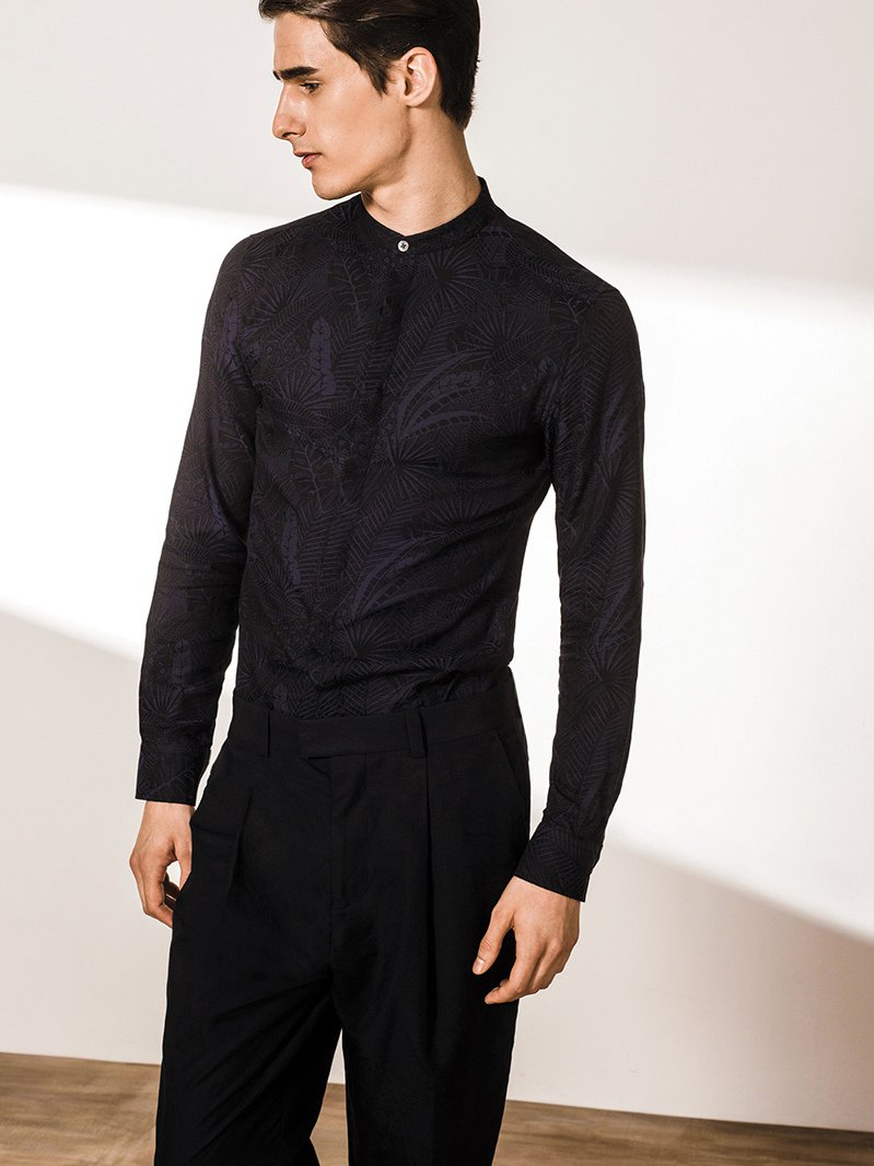 Single Button Jacquard Shirt (Slim Fit)
