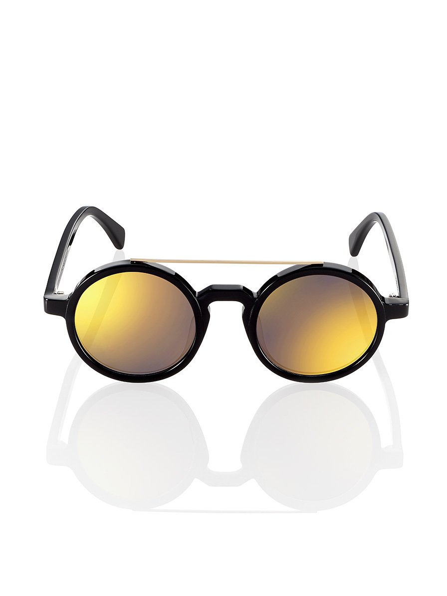 Retro Chinese Round Sunglasses Black - Gold