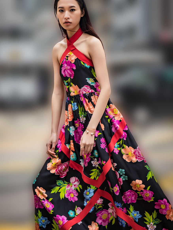 Flower Printed Long Silk Dress