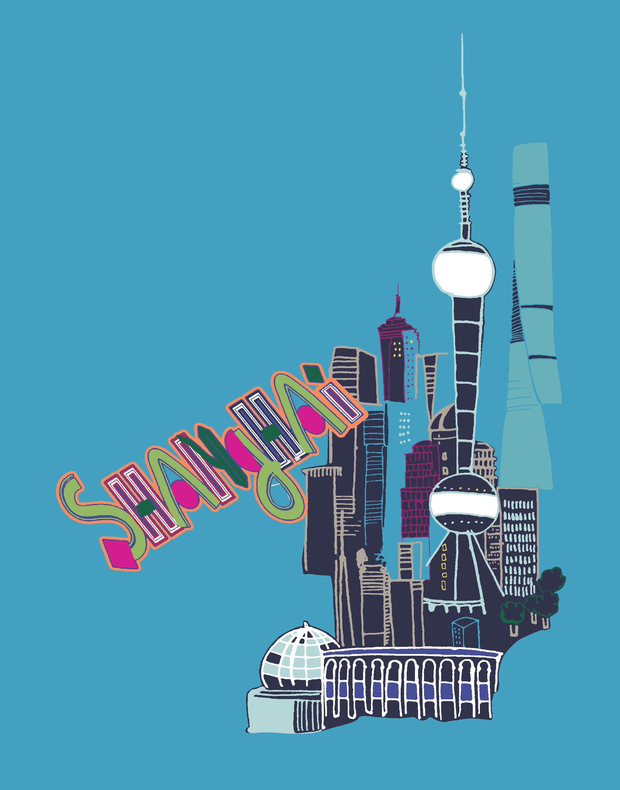 Shanghai - Crayon Blue