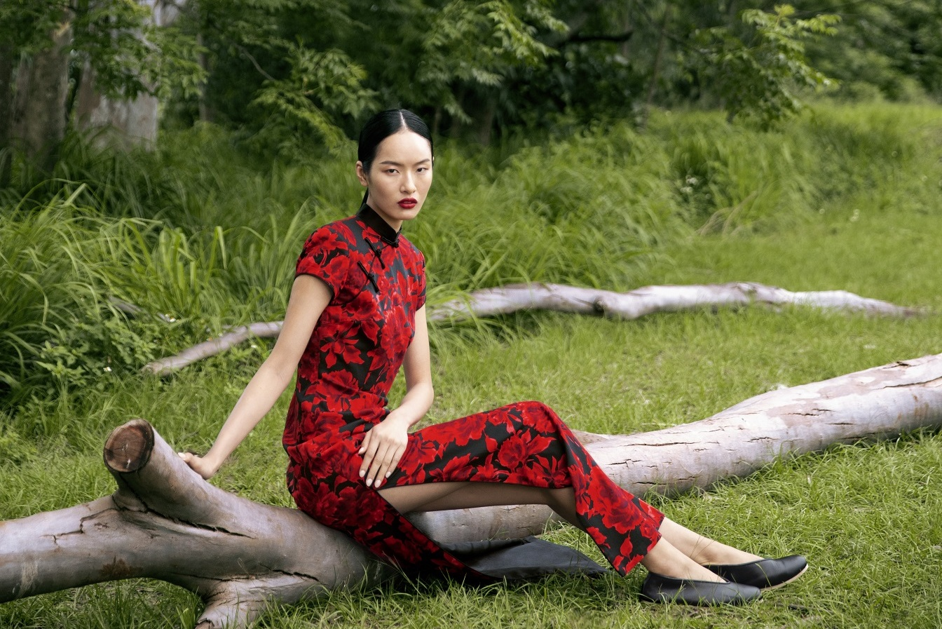Shanghai Tang - 2019 spring collection - Chinese Garden - Woven Rose Long Qipao dress