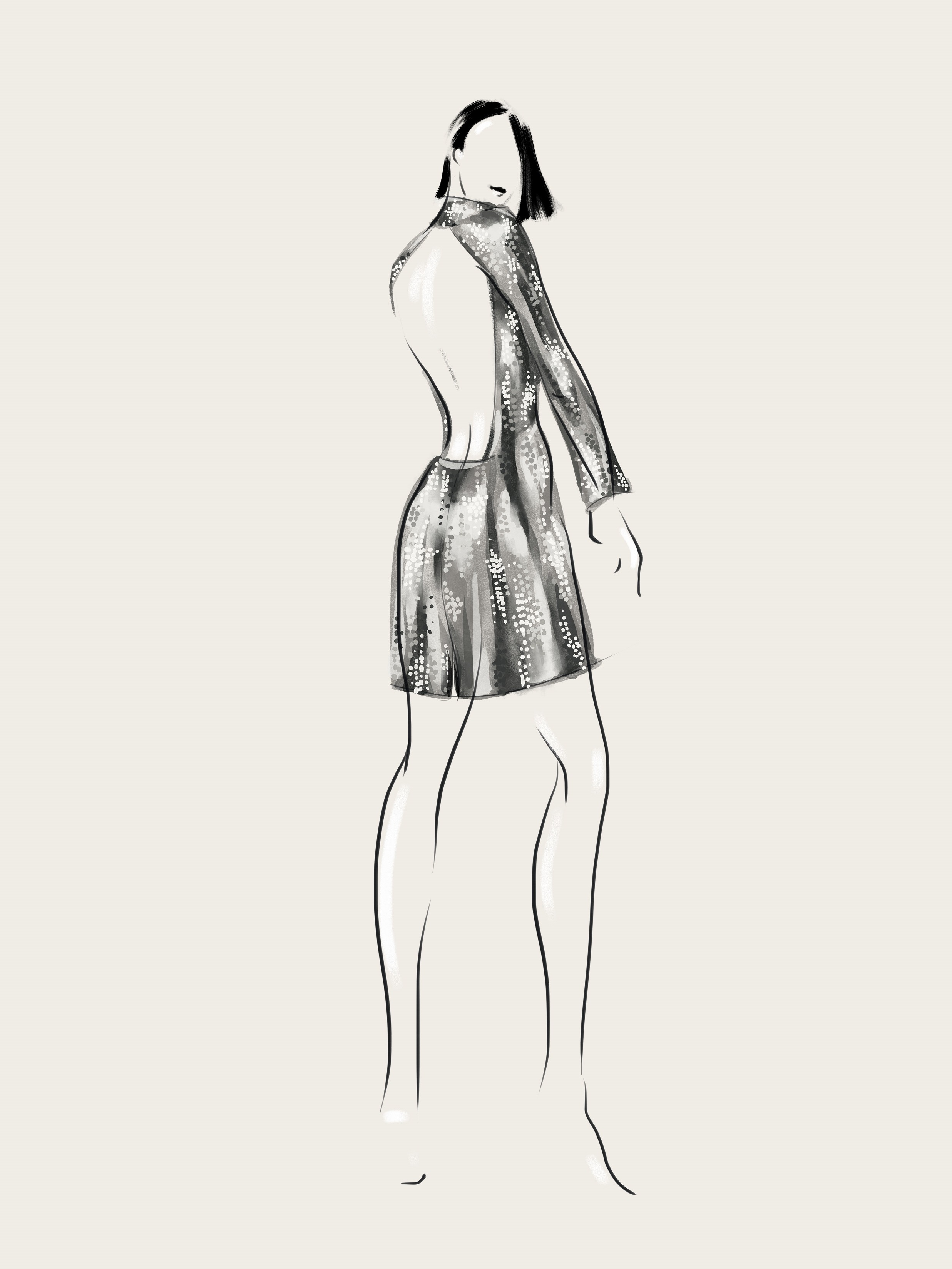 SHT-2back Silver Sequined Open Back Dress