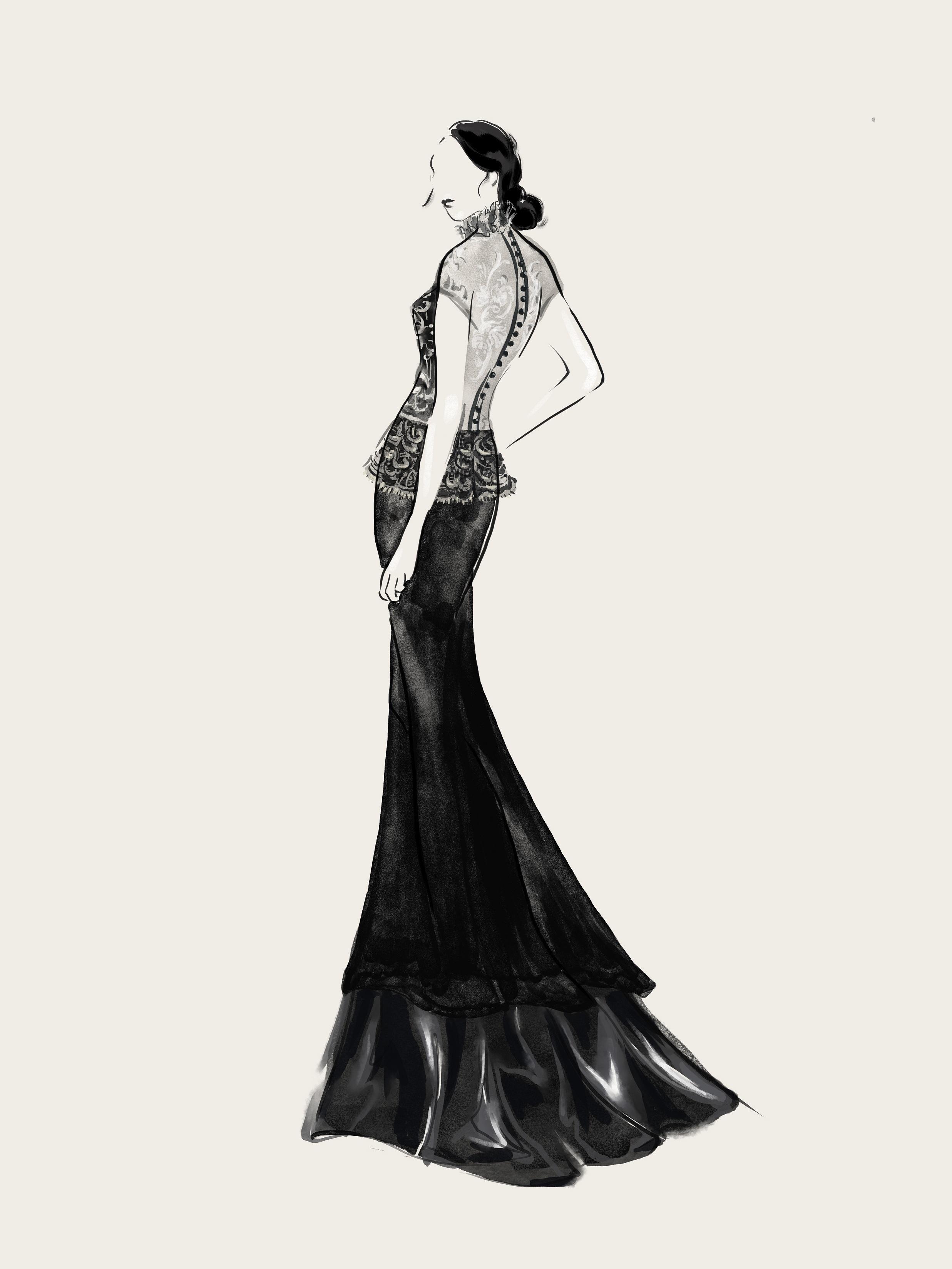 SHT-3 Illusion Neckline Lace Gown
