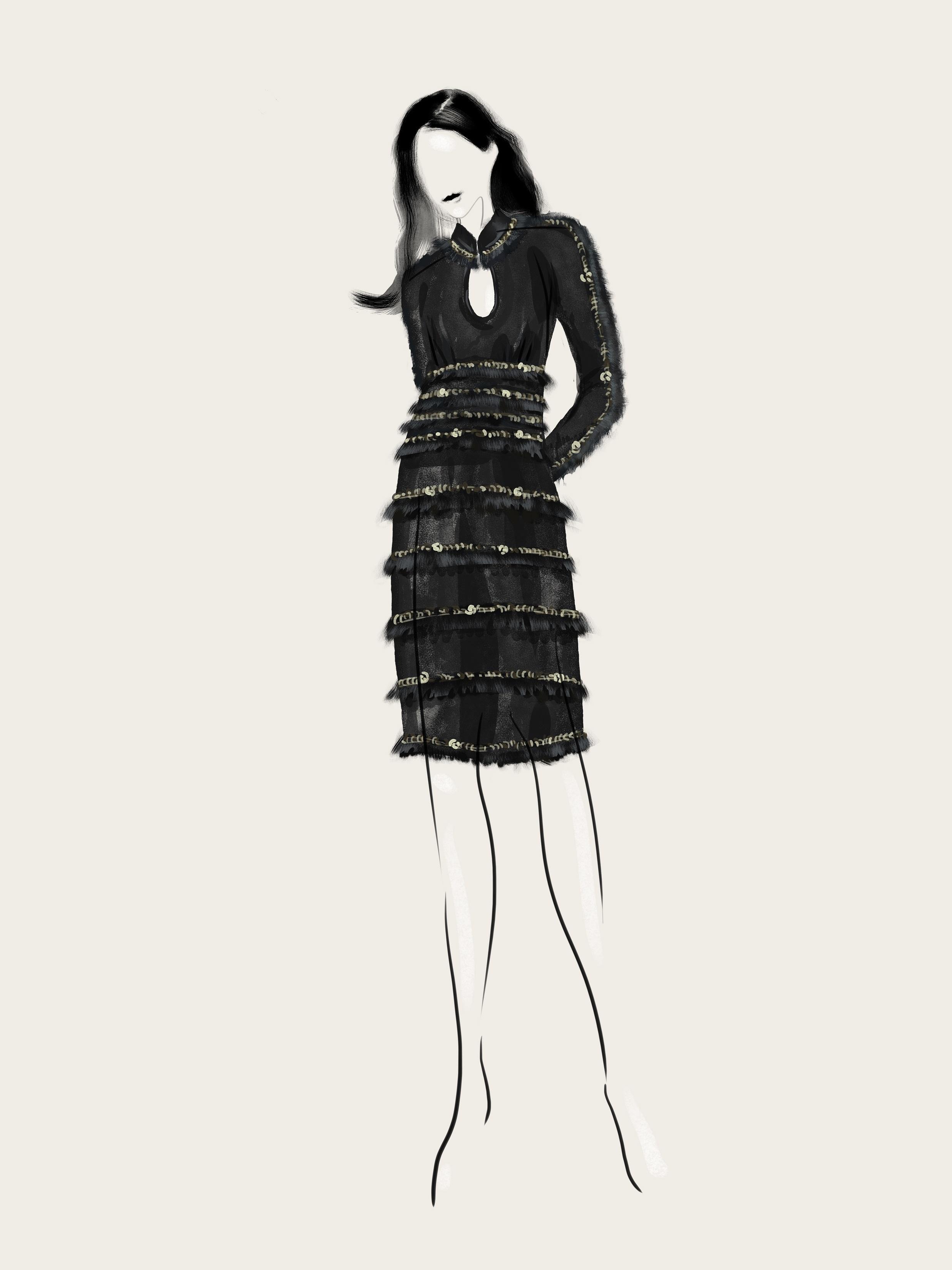 SHT-4 Chain and Fringe Embellished Keyhole Dress