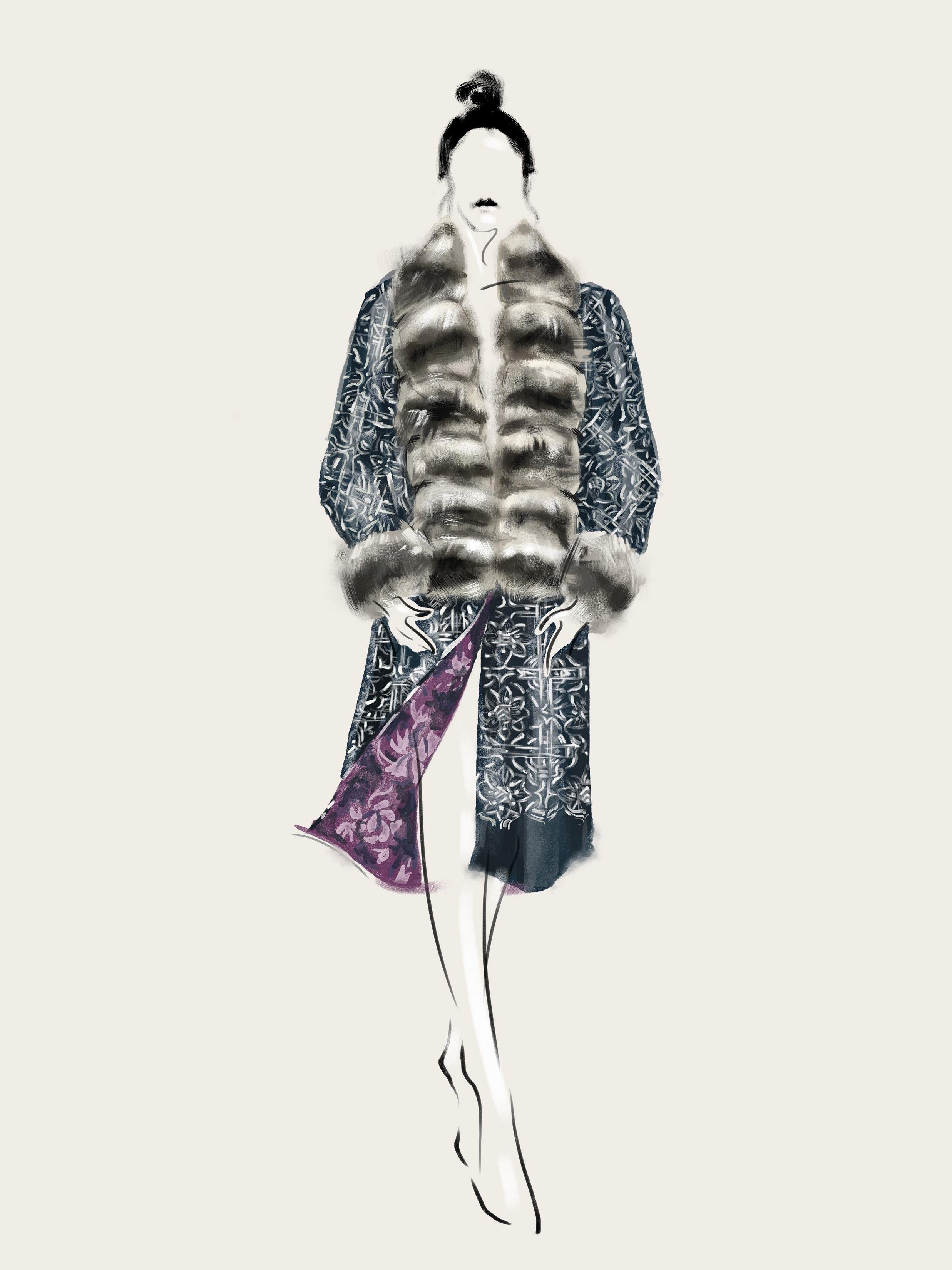 SHT-9 Chinchilla Fur Embroidered Coat