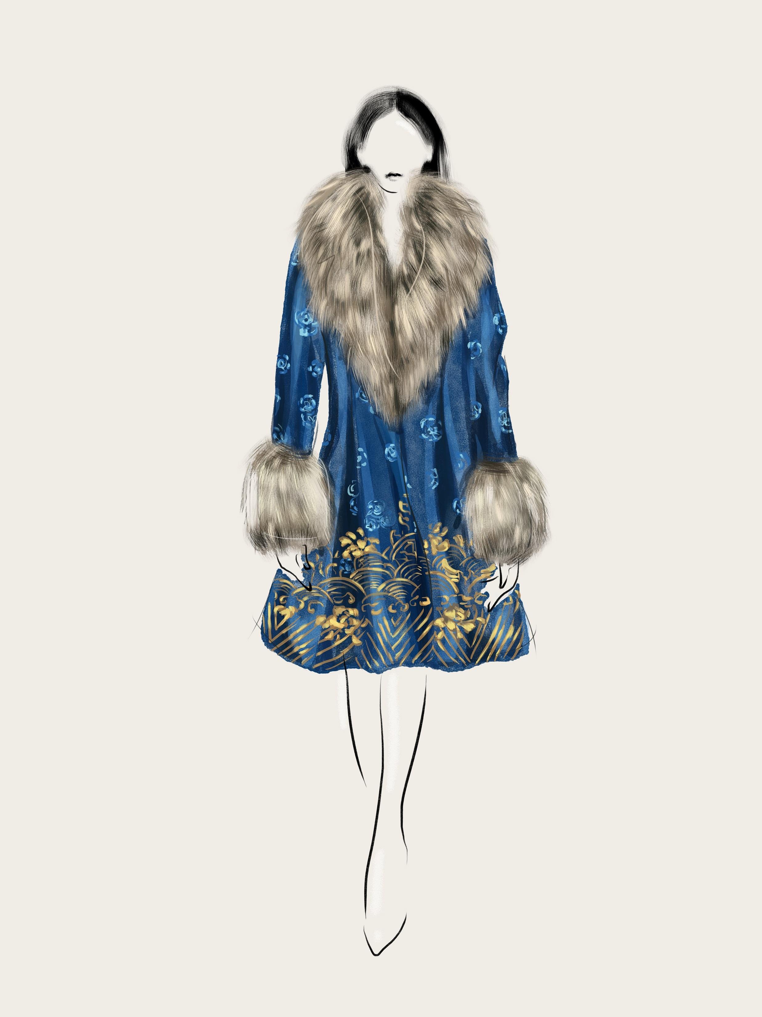 SHT-10 Fox Fur Embroidered Robe