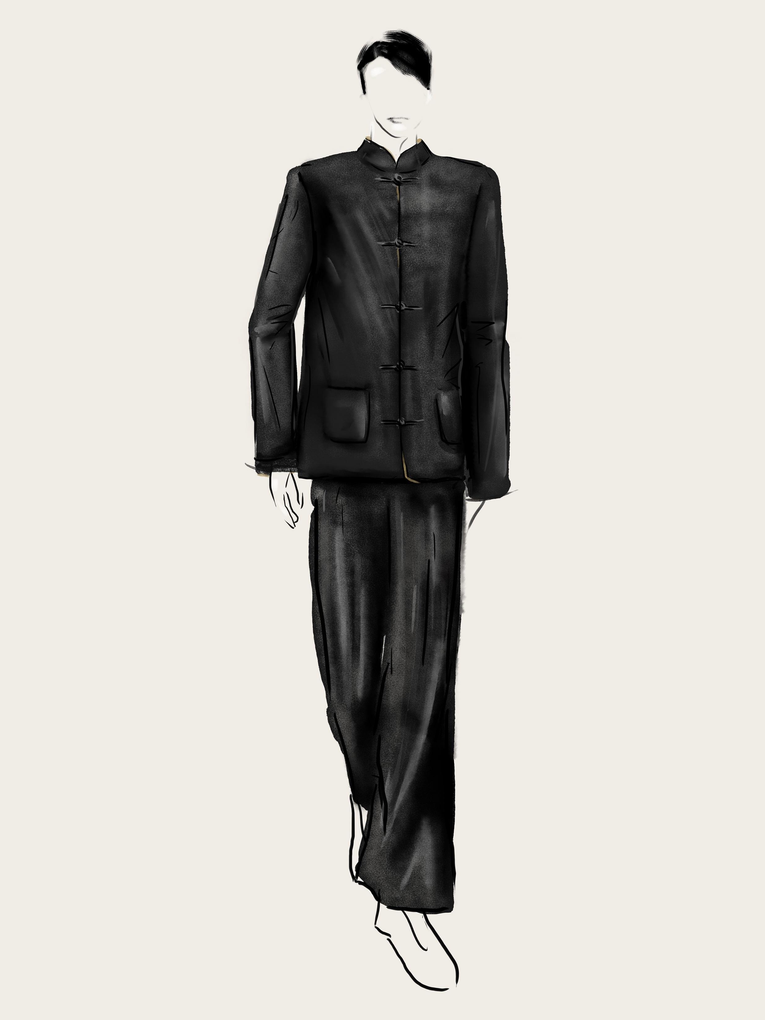 SHT-men2 Wool-silk Contrast Lining Mandarin Jacket