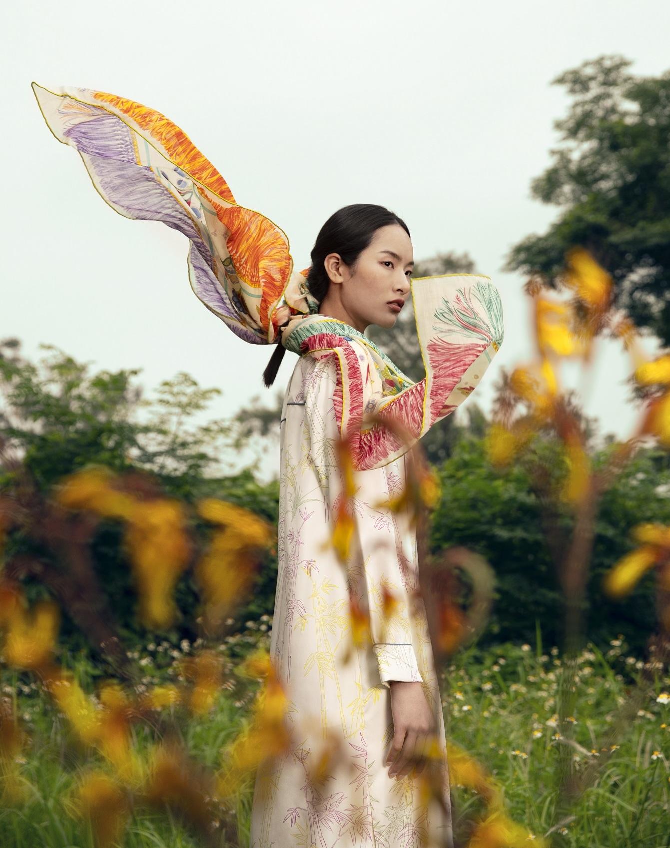 kwan nam candy bamboo shirt and scarf
