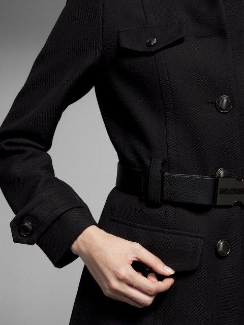 Officer belted wool coat