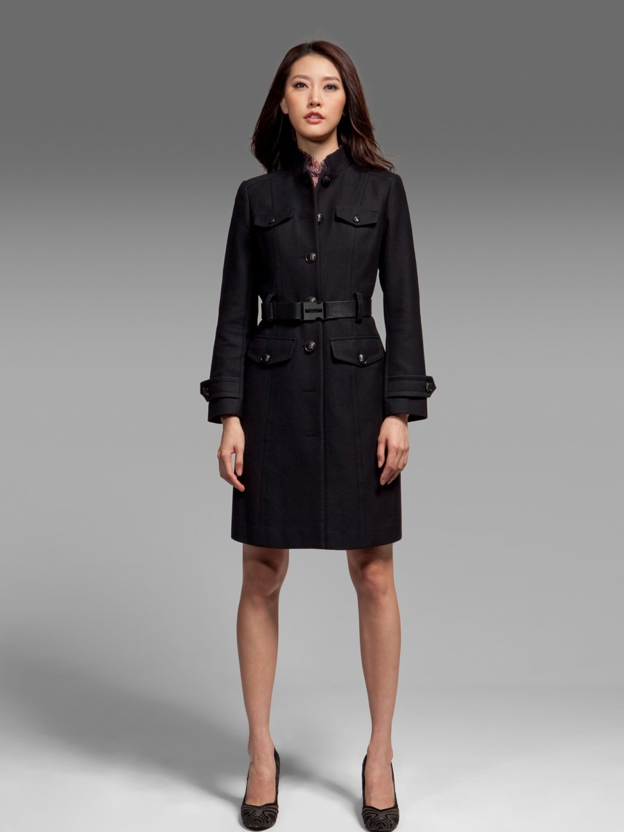 Officer belted wool coat