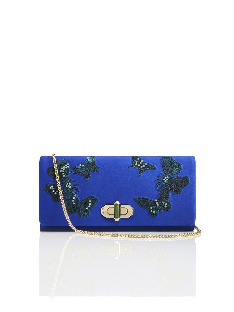 Butterfly Embroidery Silk Twist Lock Clutch