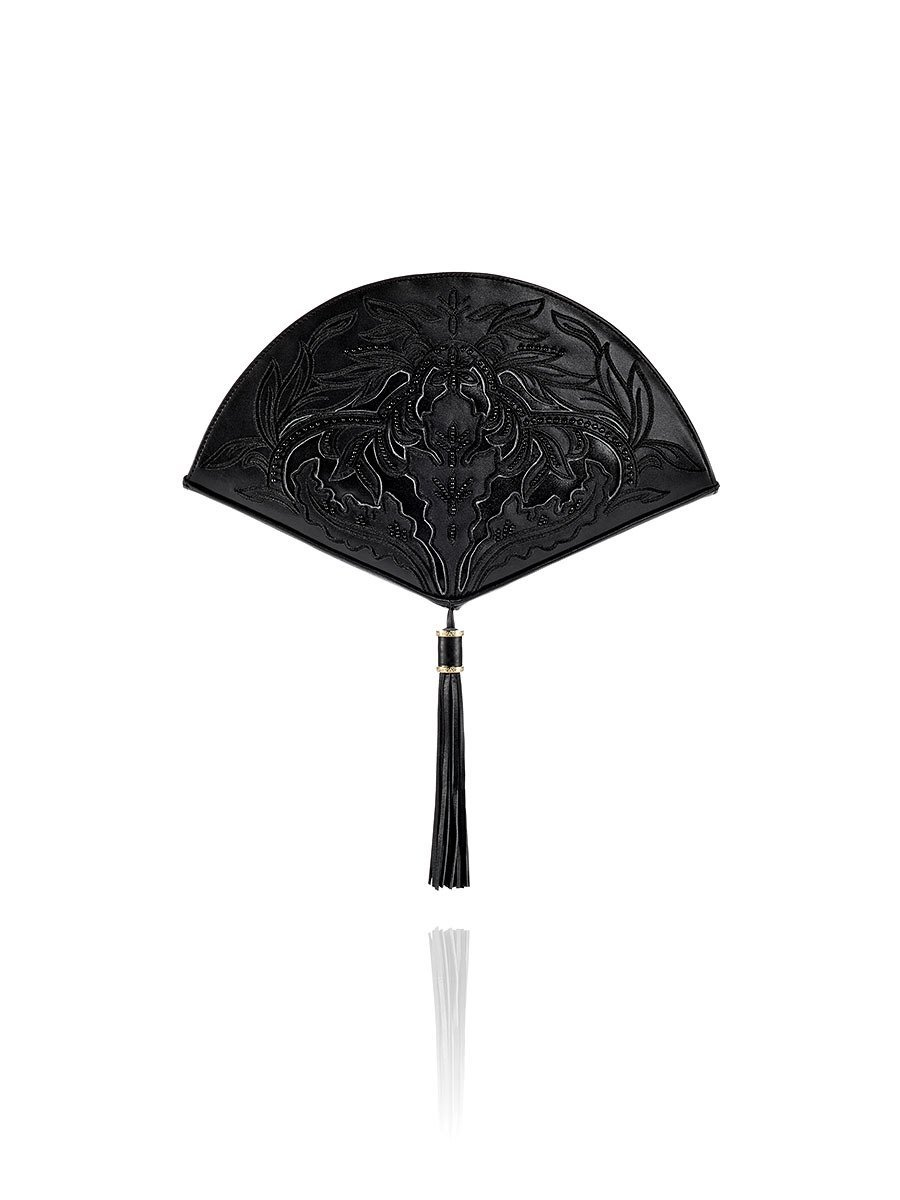 Chinese Ornament Applique Fan Leather Clutch