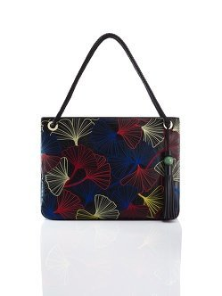 Ginkgo Embroidery Leather Tote Medium