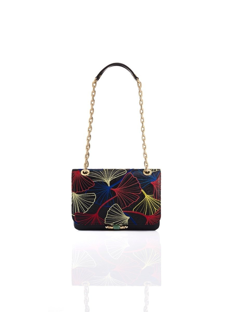 Ginkgo Embroidery Leather Duo Shoulder Bag