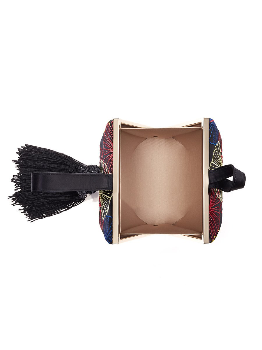Ginkgo Embroidery Tassel Silk Box Clutch