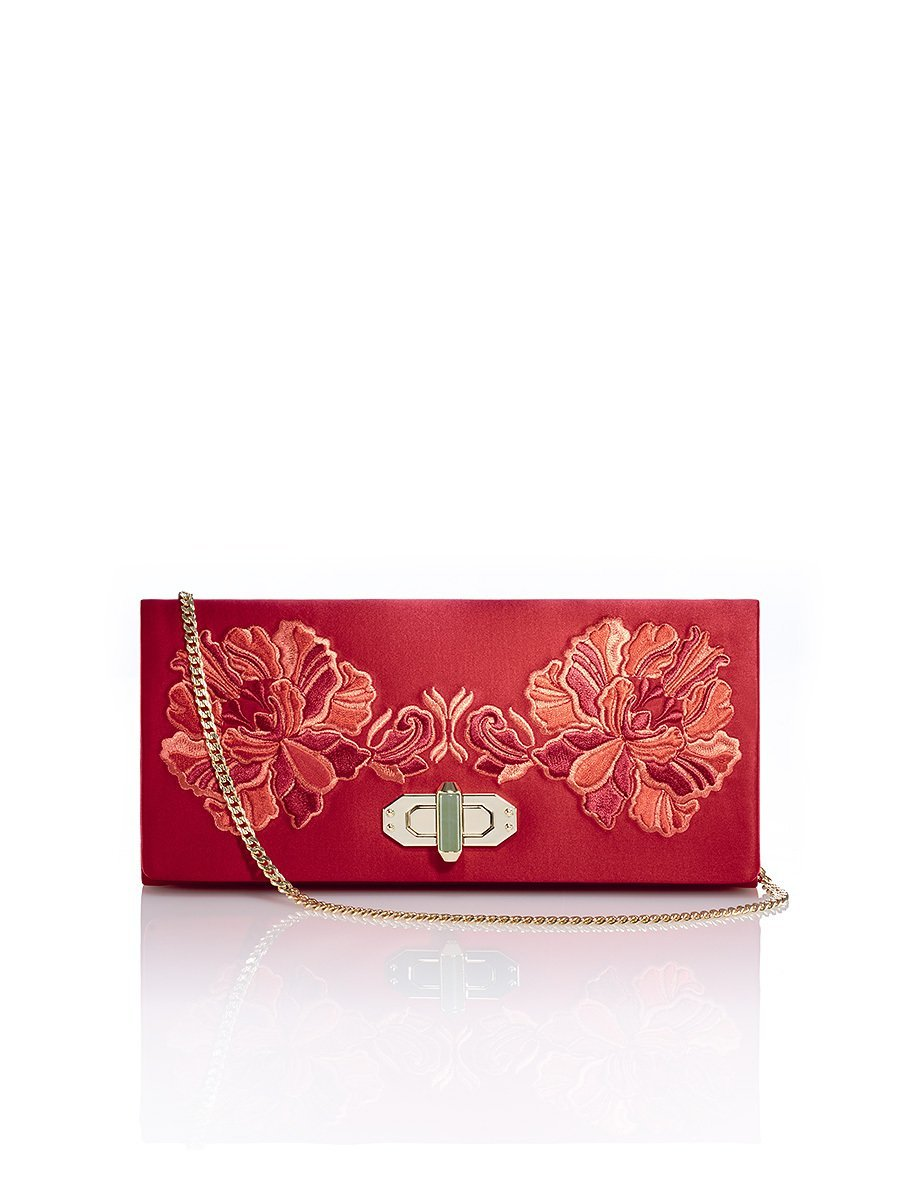 Peony Embroidery Silk Twist Lock Clutch