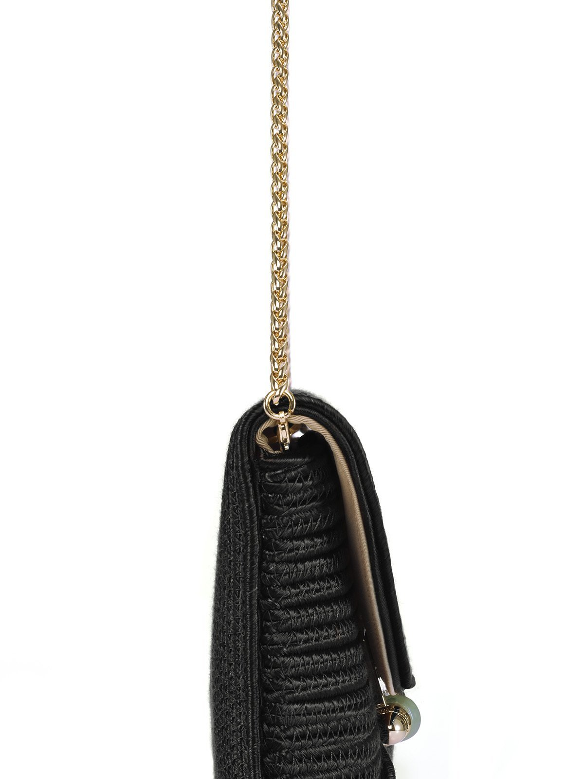 Braided Bamboo Lock Clutch