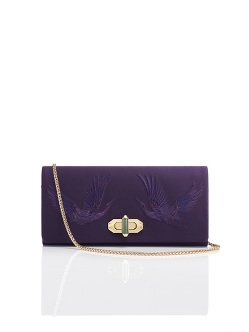 Crane Embroidery Silk Twist Lock Clutch