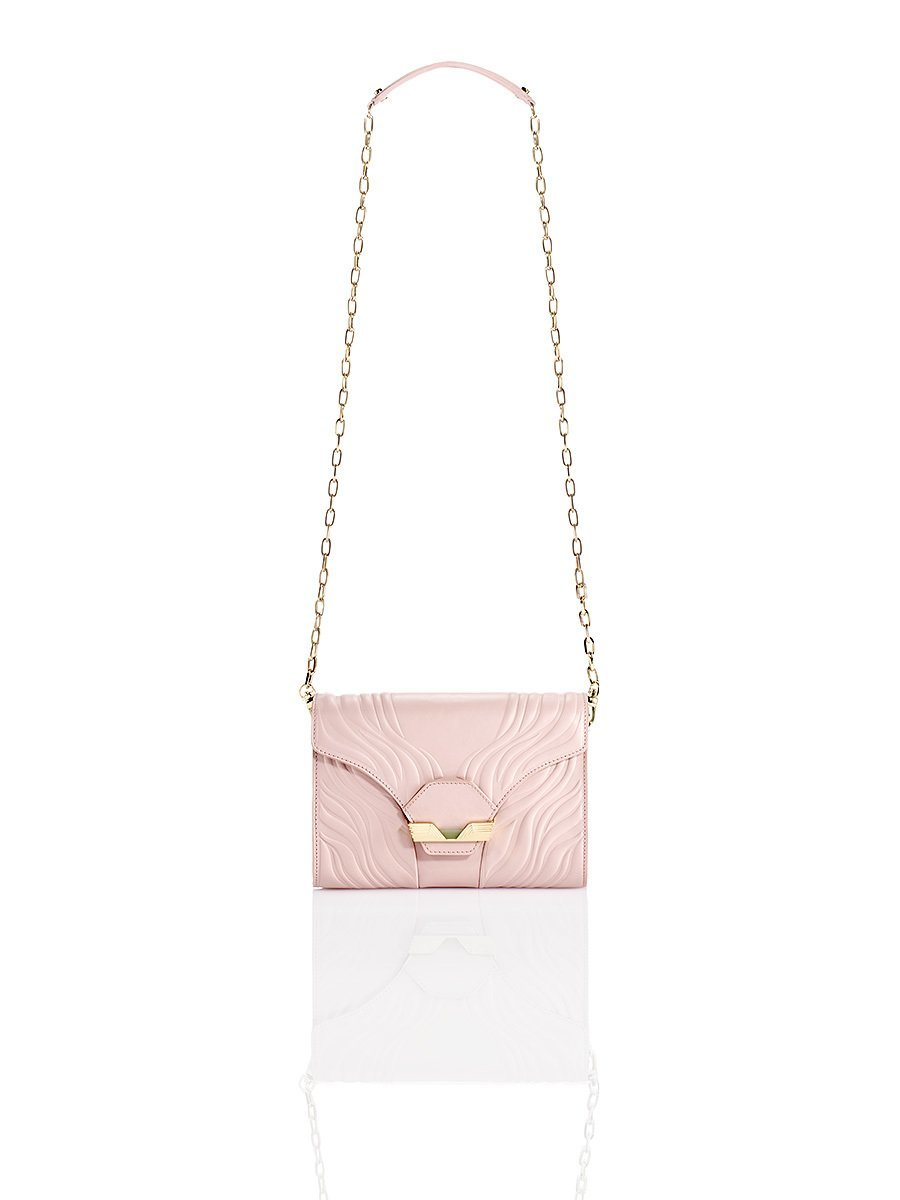Porcelain Embossed Flap Clutch