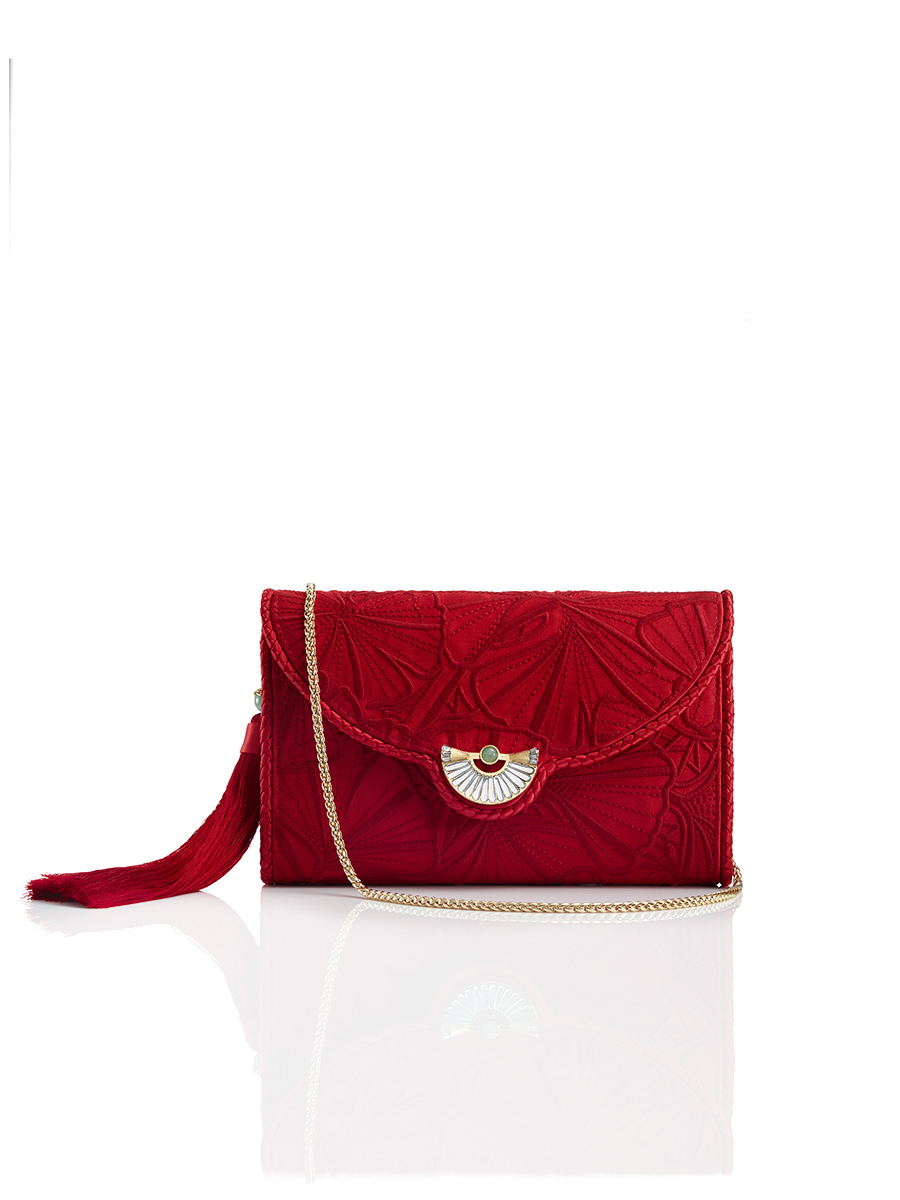 Ginkgo Embroidered Clutch