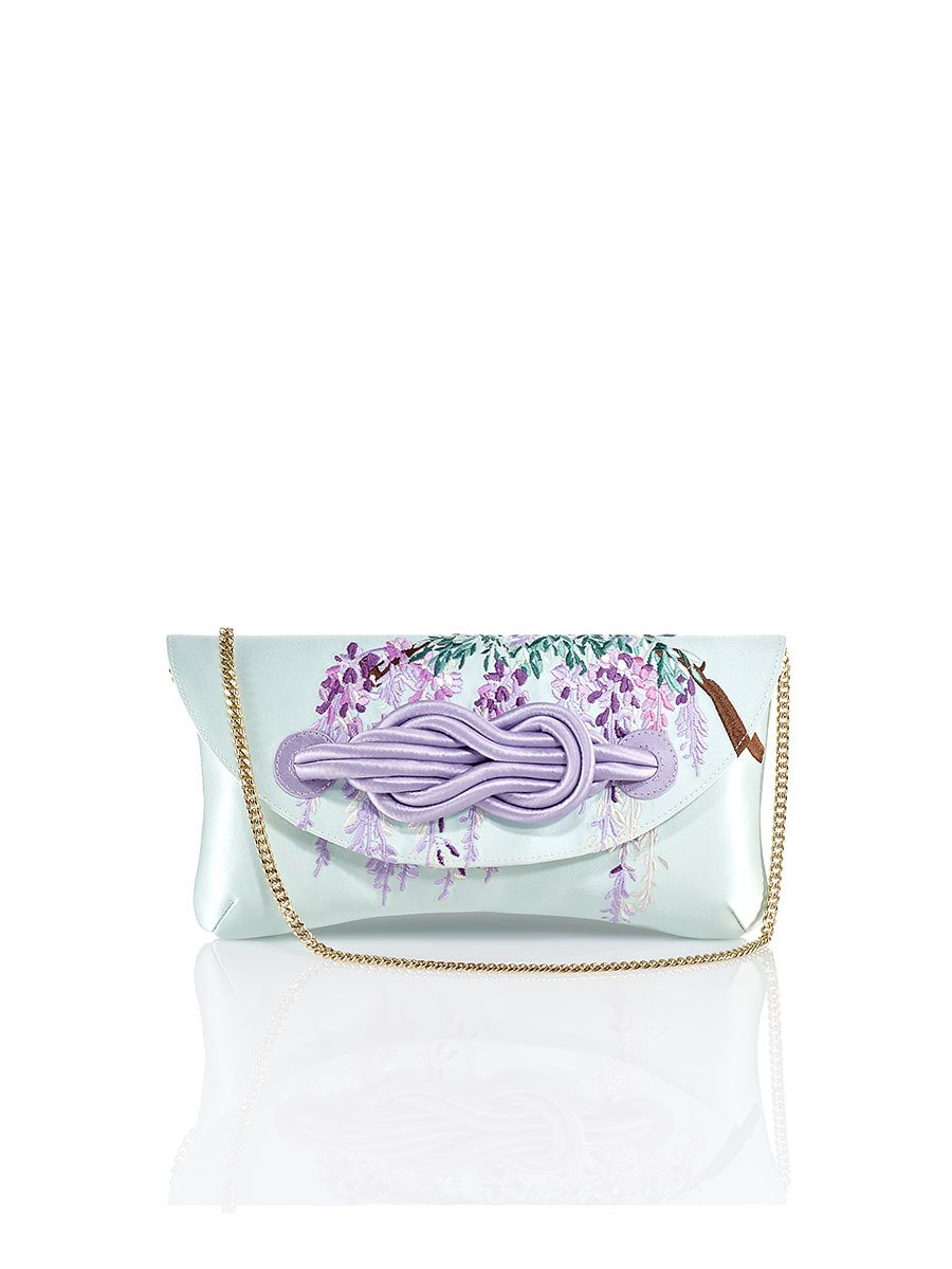 Wisteria Embroidery Silk Knot Clutch