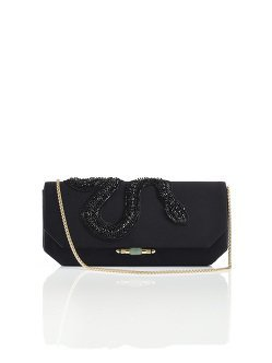 Embellished Snake Silk Bamboo Lock Clutch