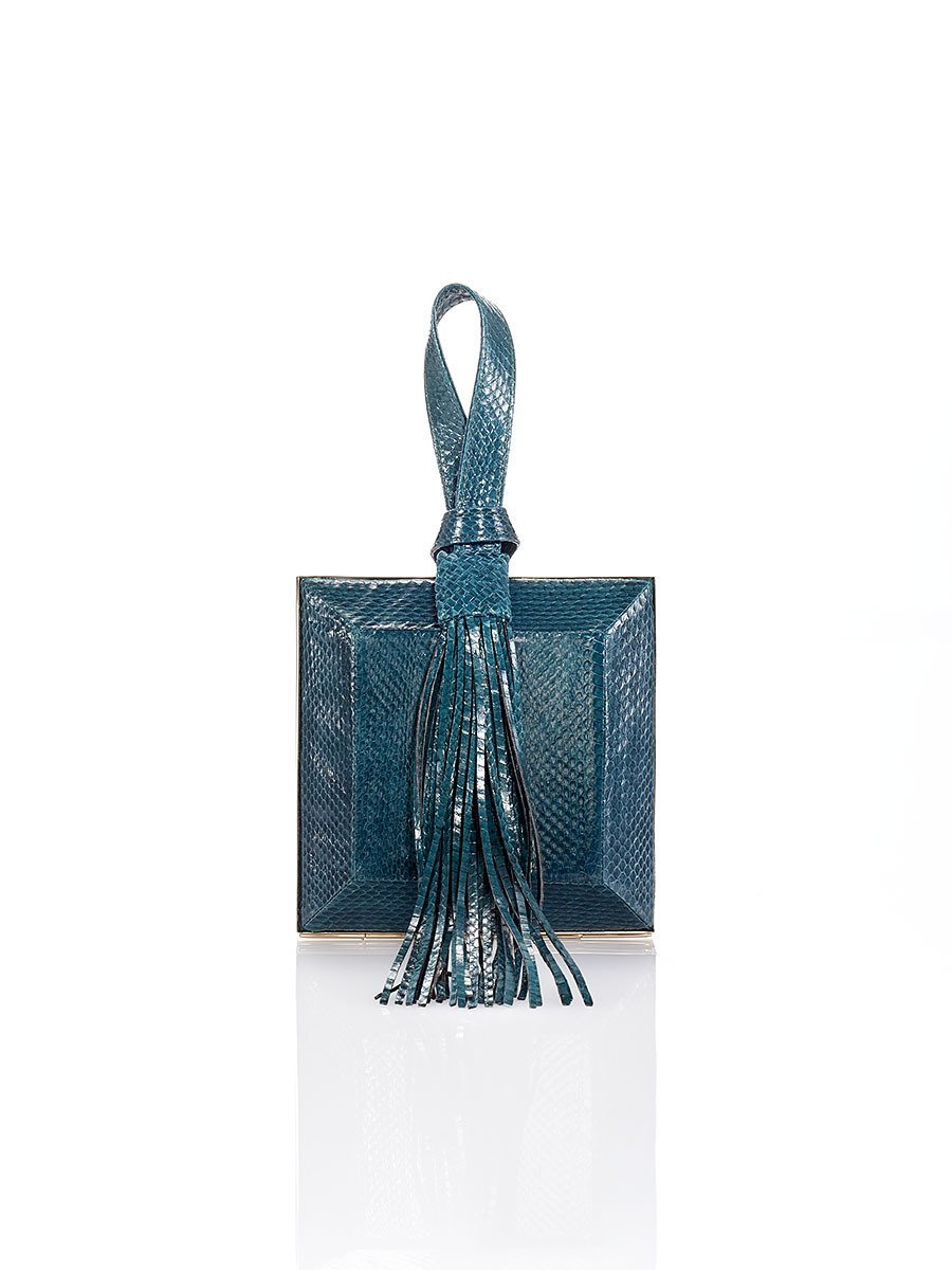 Tassel Watersnake Leather Box Clutch
