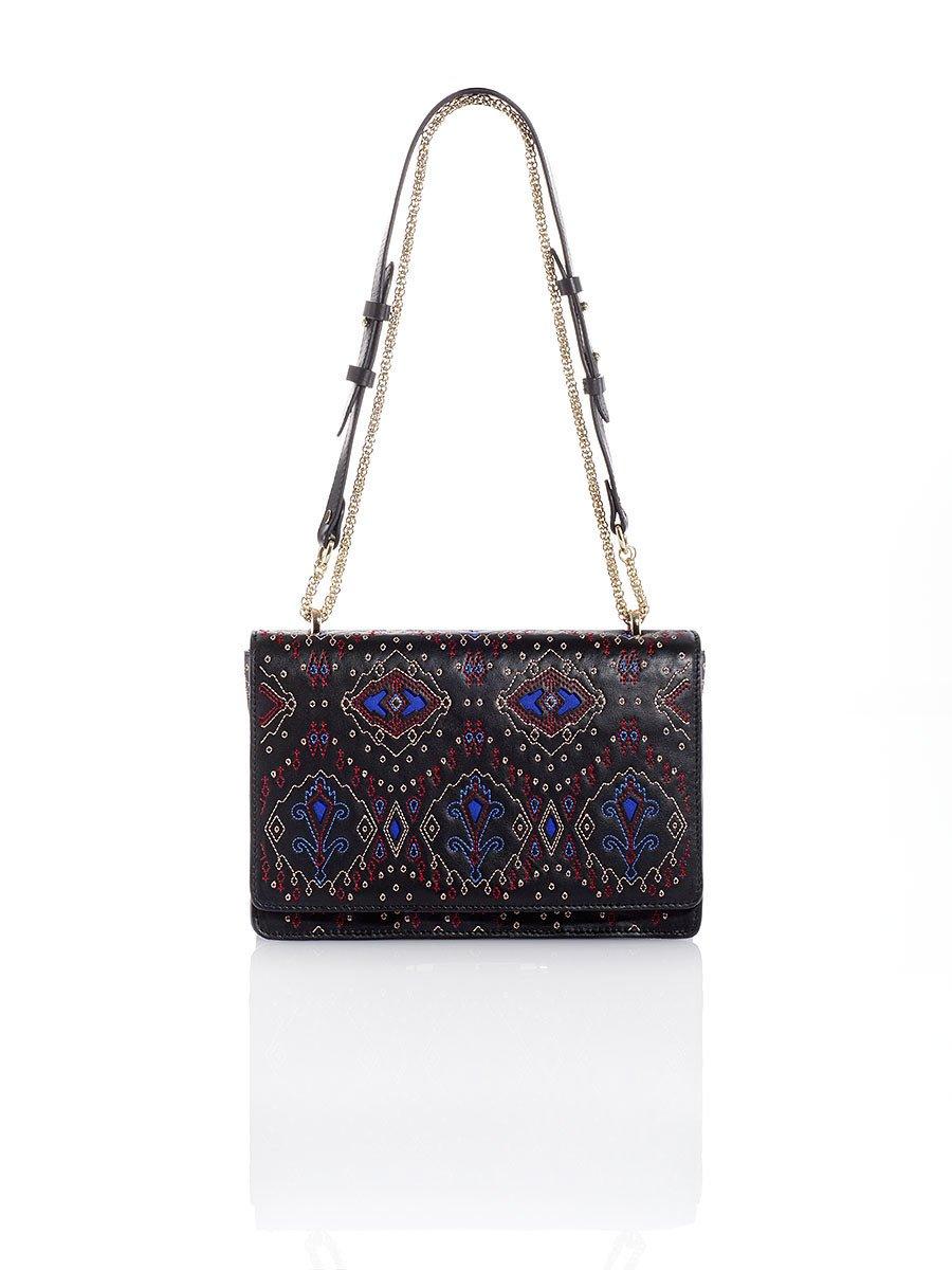 Mongolian Neon Ikat Quilted Small Flap Handbag