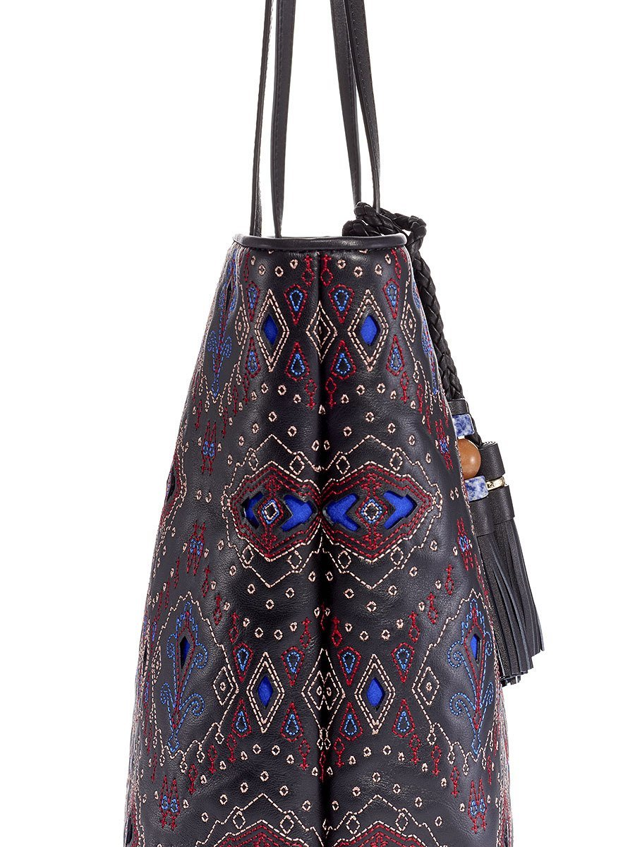 Mongolian Neon Ikat Quilted Leather Tote
