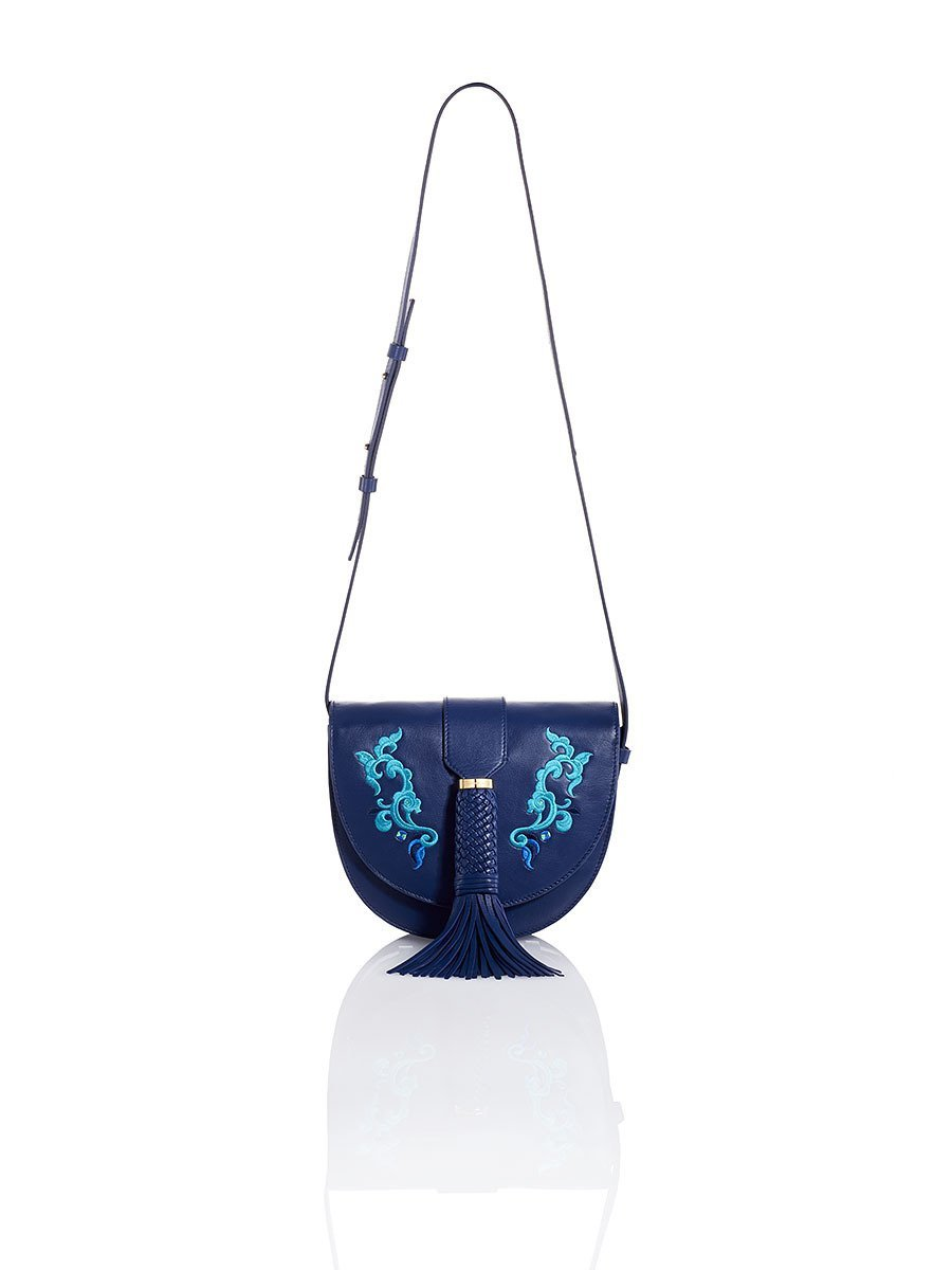 Tassel Lotus Embroidery Saddle Bag