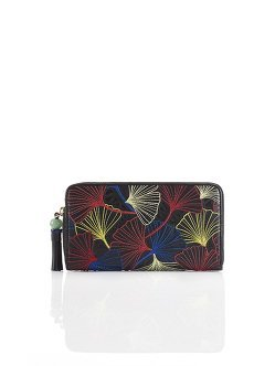 Ginkgo Embroidery Leather Zip Around Wallet