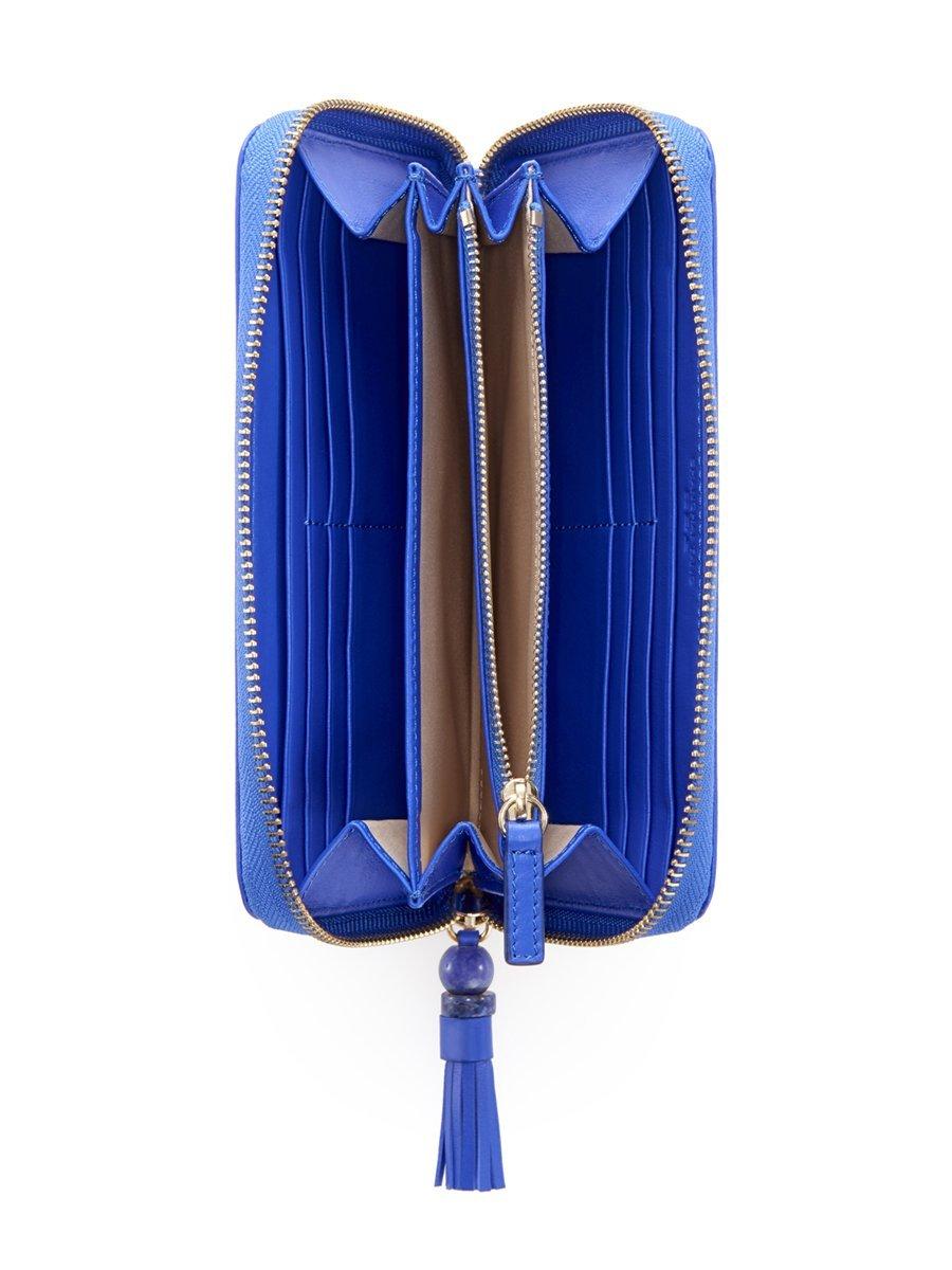 Gingko Embossed Leather Zip Around Wallet