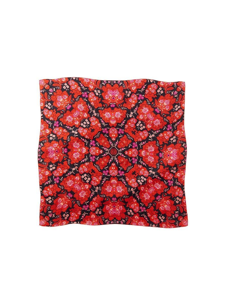 Tribal Palm Silk Satin Chiffon Printed Square Scarf