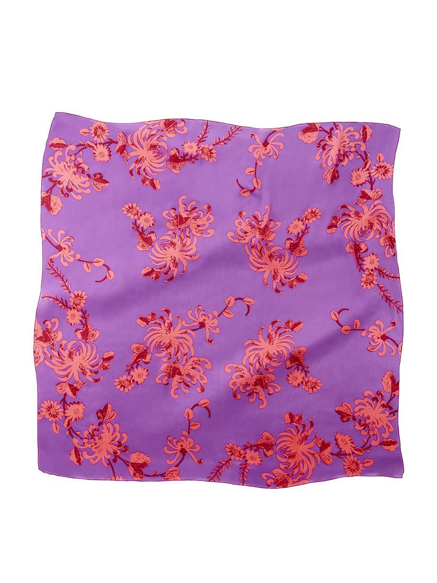 Chrysanthemum Silk Satin Chiffon Printed Square Scarf
