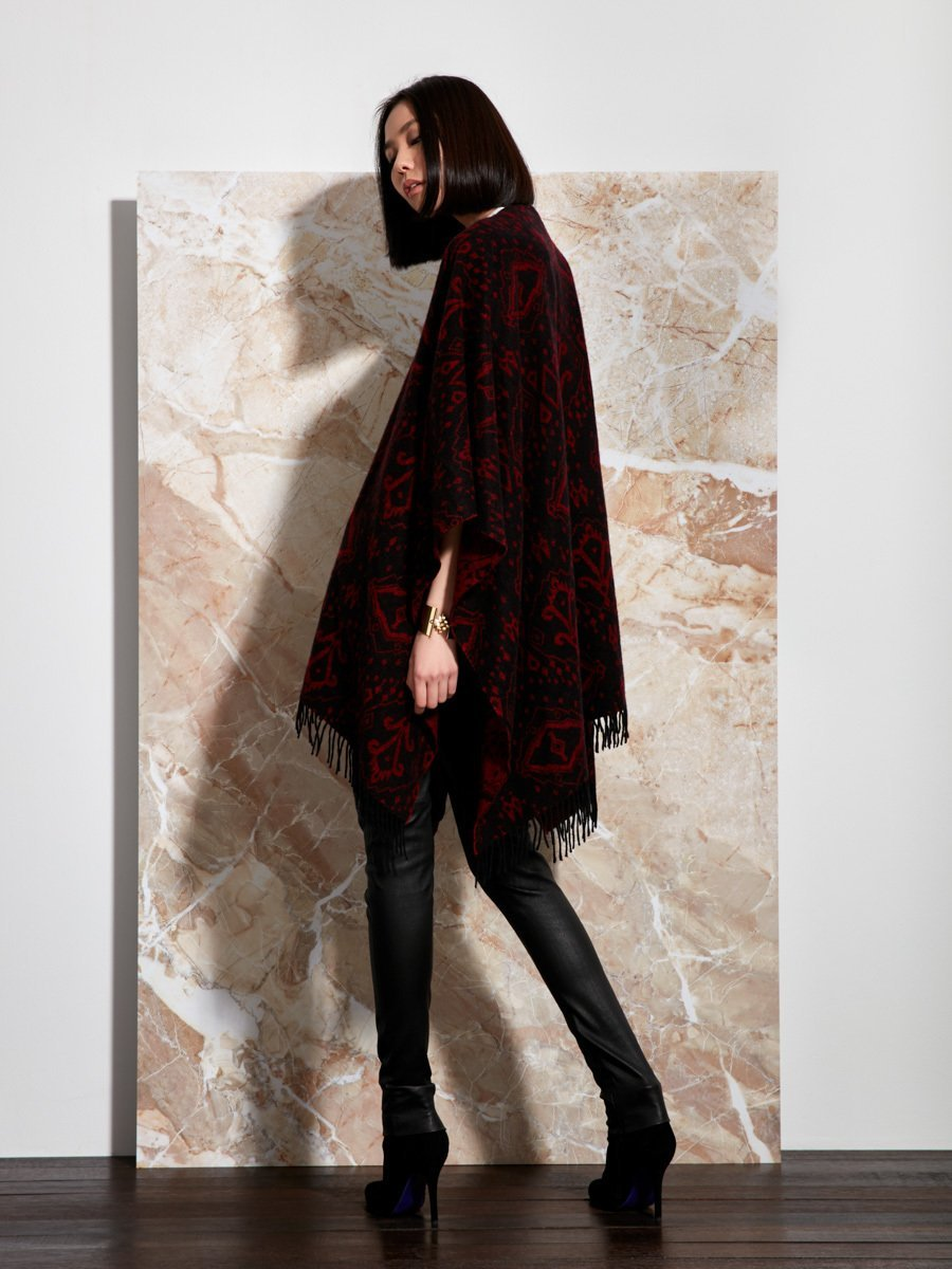 Ikat Cover-up Wool Cashmere Jacquard Cape