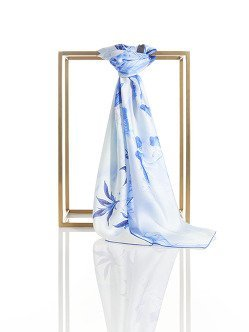 Lotus Play Silk Satin Chiffon Square Scarf