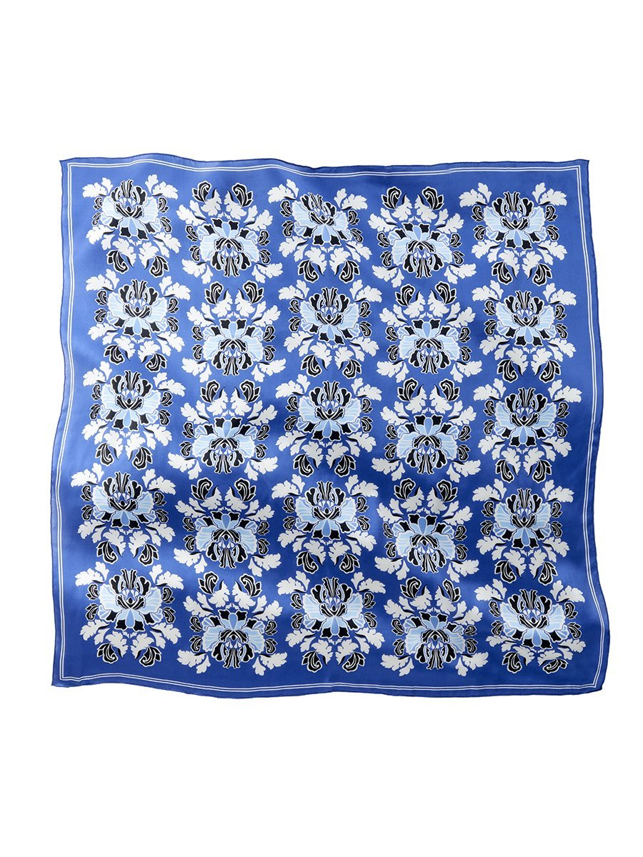 Peony Plate Silk Satin Chiffon Square Scarf