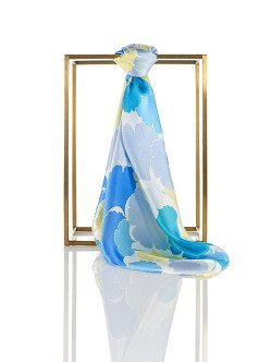 Gingko Silk Satin Chiffon Square Scarf