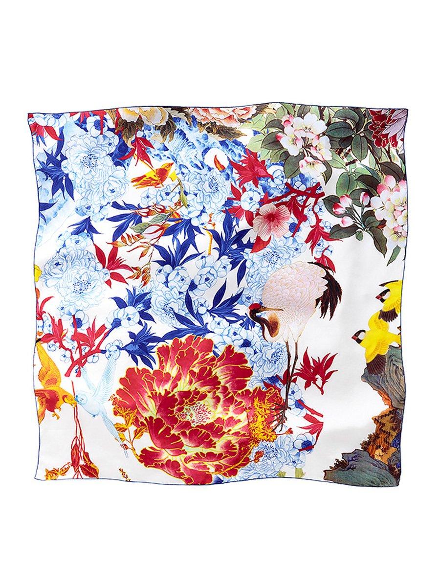 Floral Skull Silk Satin Chiffon Square Scarf