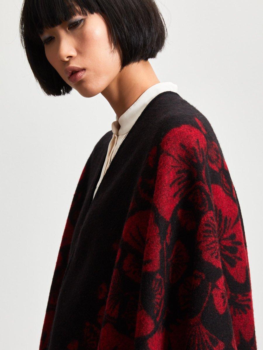 Ginkgo Leaf Wool-Cashmere Poncho