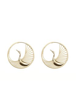 Crane Hoop Earrings