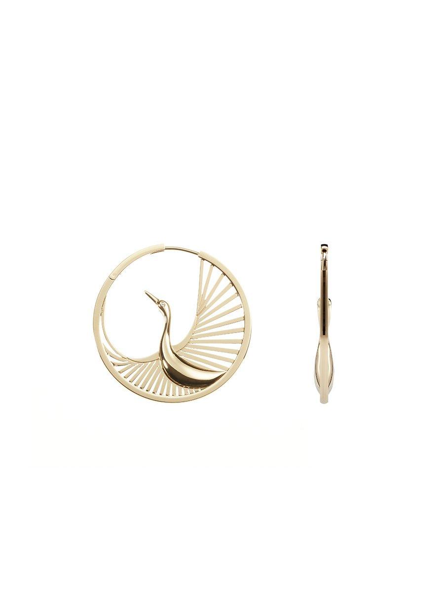 Crane Hoop Earrings