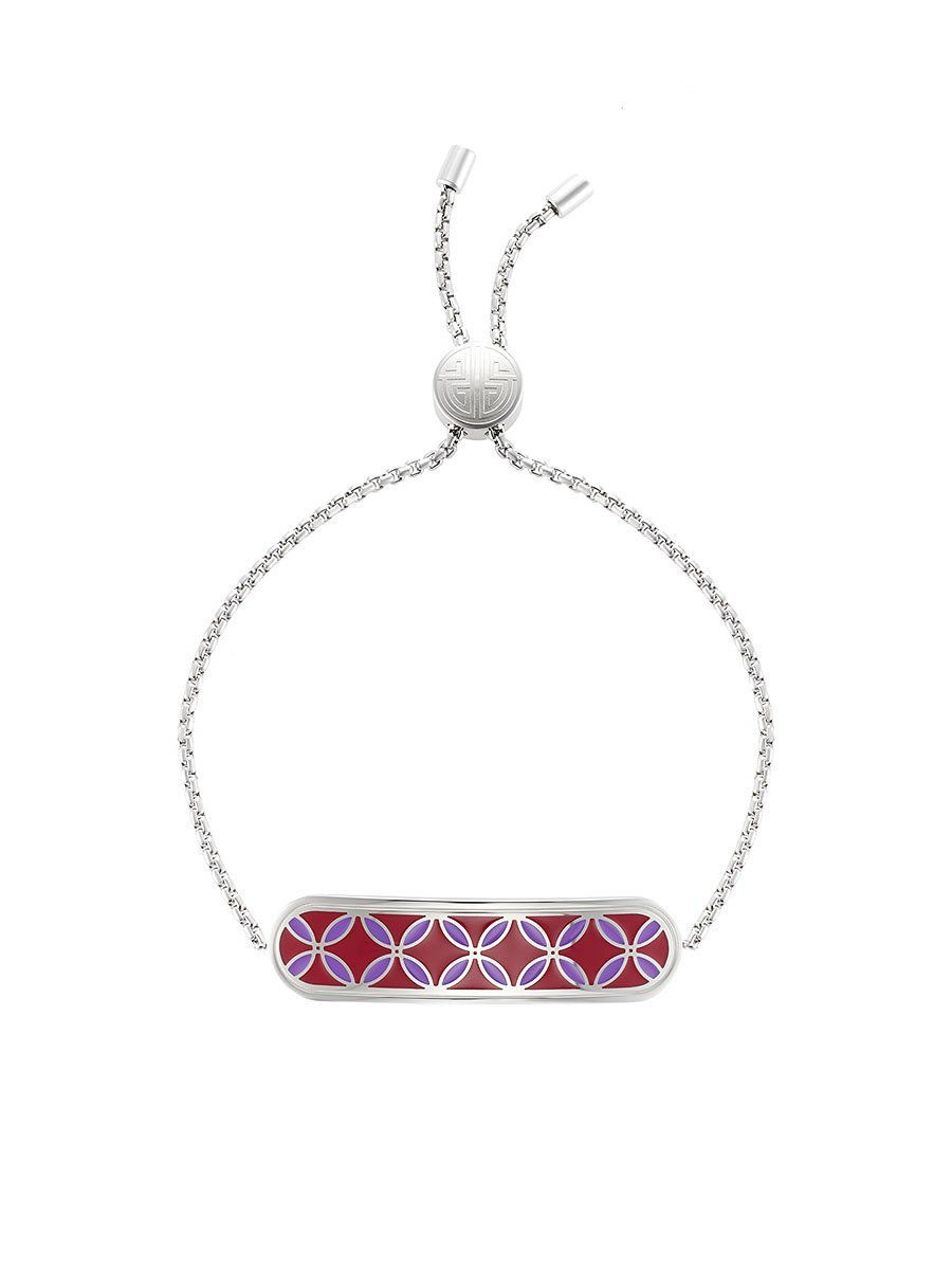 Coin Lattice Bar Enamel Bracelet
