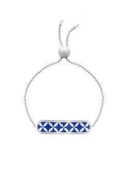 Coin Lattice Bar Enamel Bracelet