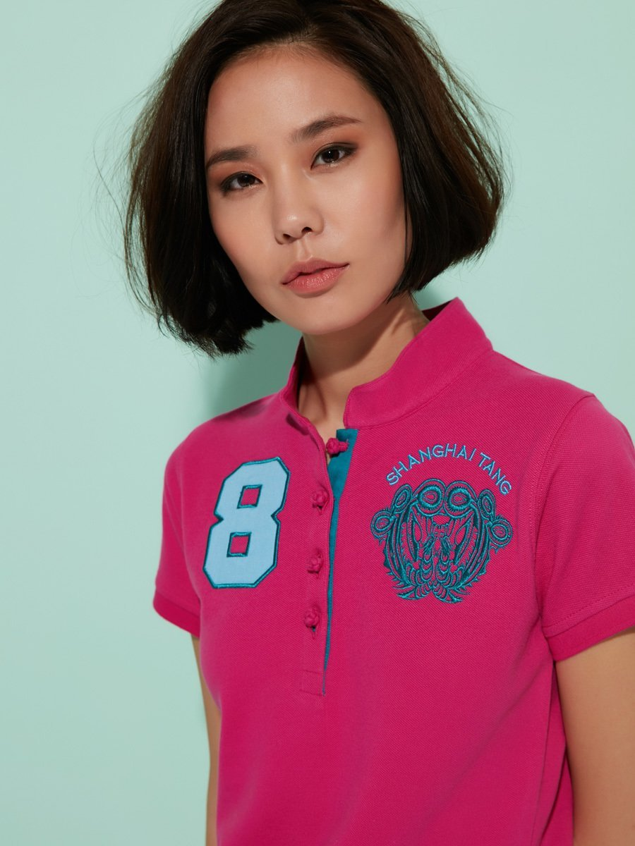 Cotton '8' Floral Embroidery Polo Shirt
