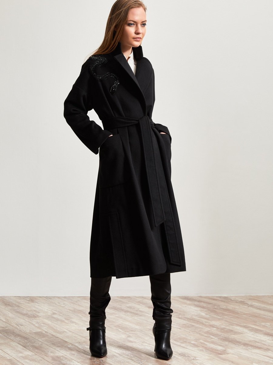 Cashmere Coat with Beaded Snake