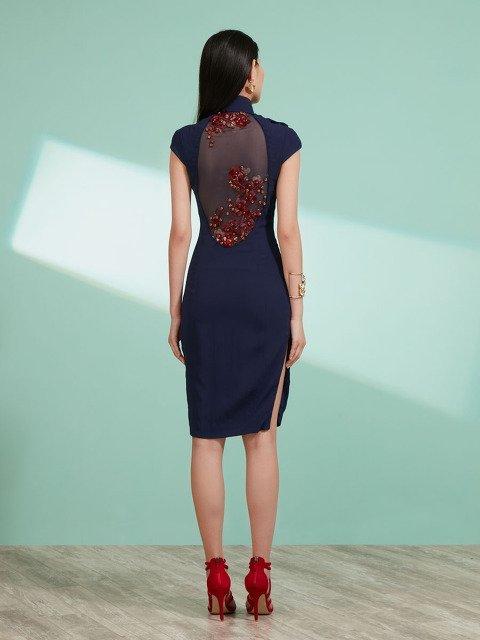 Qipao Dress with Back Flower Beads