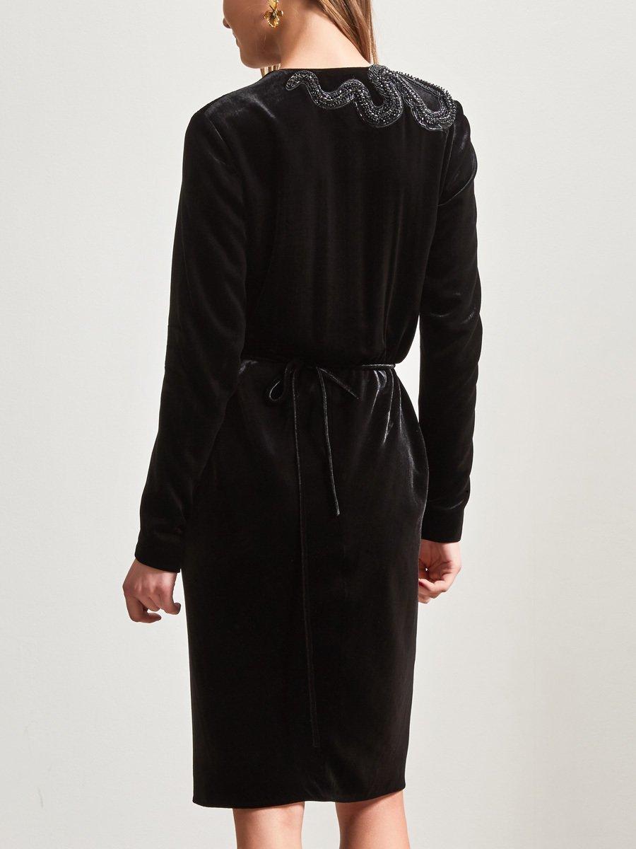 Velvet Wrap Dress with Beaded Snake